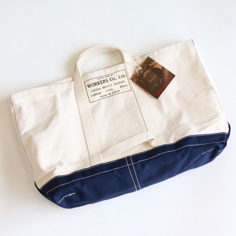 WORKERS ワーカーズ Tool Bag, Bottom Color, Ecru Navy, L-S ツールバッグ