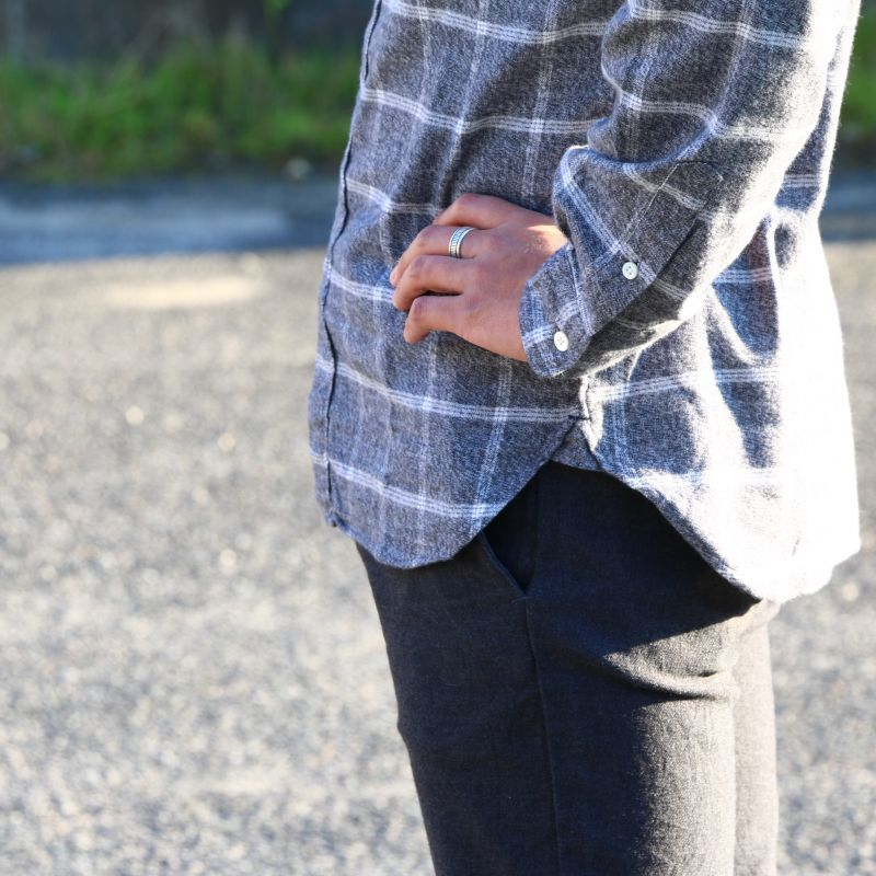 SONTAKU ソンタク SOFT TOUCH WINDOWPANE BD SHIRT ソフトタッチウィンドウペンボタンダウンシャツ ライトグレイ