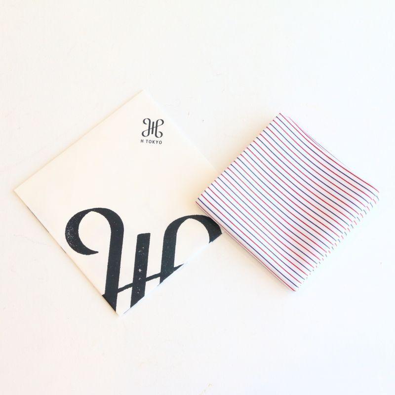 H TOKYO エイチ トウキョウ Double Face Navy Red Stripe Handkerchief ダブルフェイスハンカチ ネイビーレッドストライプ