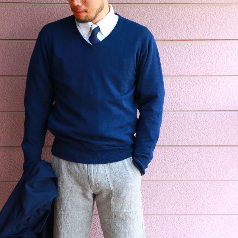 WORKERS ワーカーズ Organic Cotton Sweater, V-Neck,Navy オーガニックコットンVネックセーター ネイビー