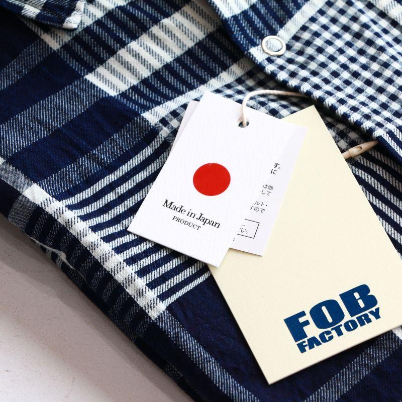 FOB FACTORY エフオービーファクトリー H/S BALL SHIRTS ハーフスリーブボールシャツ インディゴチェック F3417