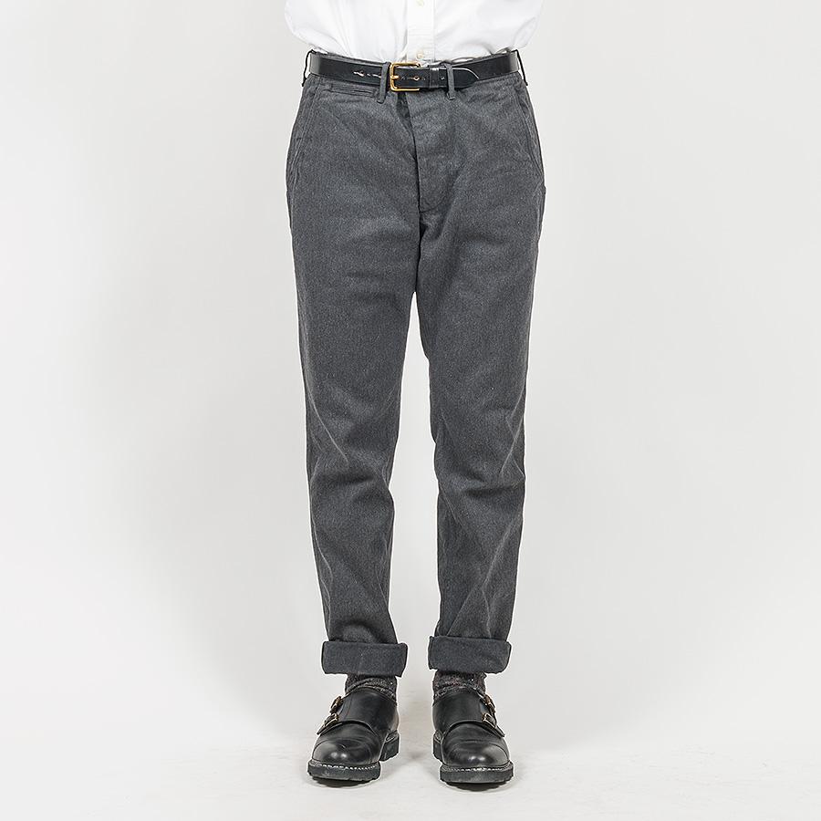 WORKERS ワーカーズ Officer Trousers, Slim, Type 2, Cotton Serge, Grey オフィサートラウザー スリムタイプ2 コットンサージグレイ