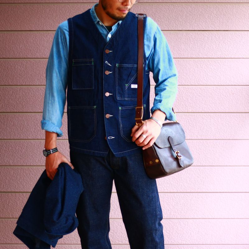 TCB jeans TCBジーンズ TABBYS VEST Selvedge Covert DENIM タビーズベスト デニム