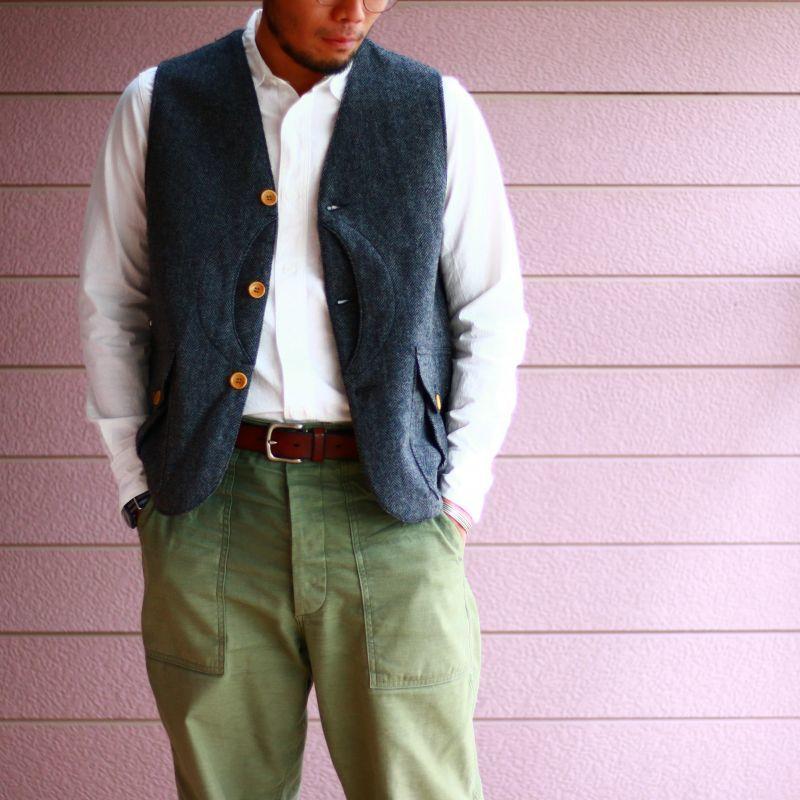 WORKERS ワーカーズ Cruiser Vest, Herringbone Tweed クルーザーベスト ヘリンボーンツイード グレイ