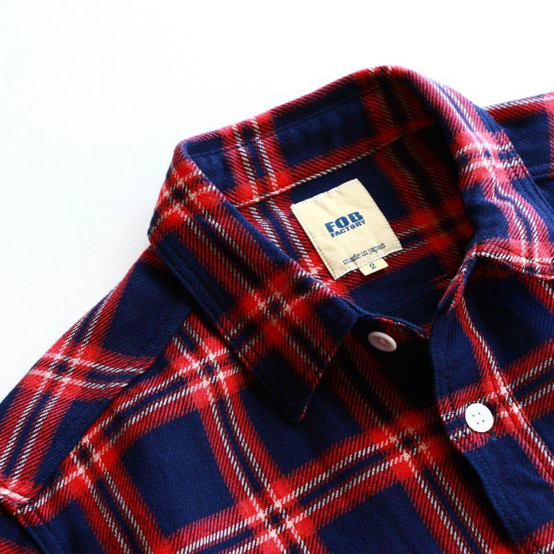 FOB FACTORY エフオービーファクトリー INDIGO NEL WORK SHIRTS インディゴネルワークシャツ F3419