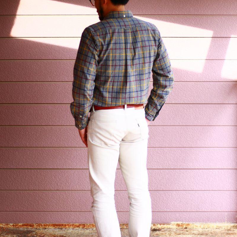 SONTAKU ソンタク SHAGGY PEN CHECK BD SHIRT シャギーペンチェックボタンダウンシャツ グレイ