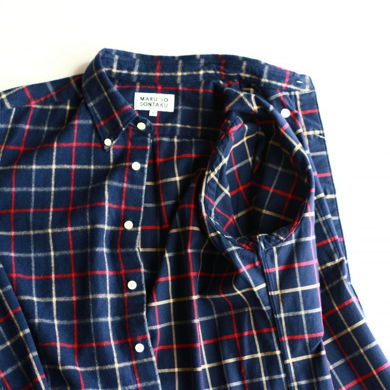 SONTAKU ソンタク SHAGGY PEN CHECK BD SHIRT シャギーペンチェックボタンダウンシャツ ネイビー Qurious キュリアス 新潟 通販