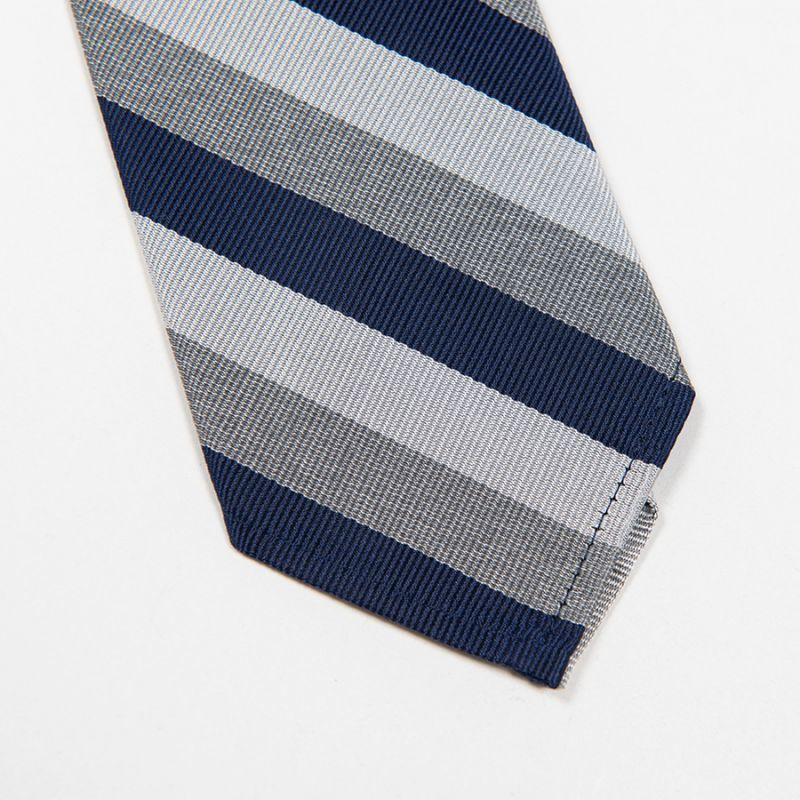 WORKERS ワーカーズ Silk Repp Tie, Navy-Silver-Heather Grey シルクレップタイ ネイビーシルバーヘザーグレイ