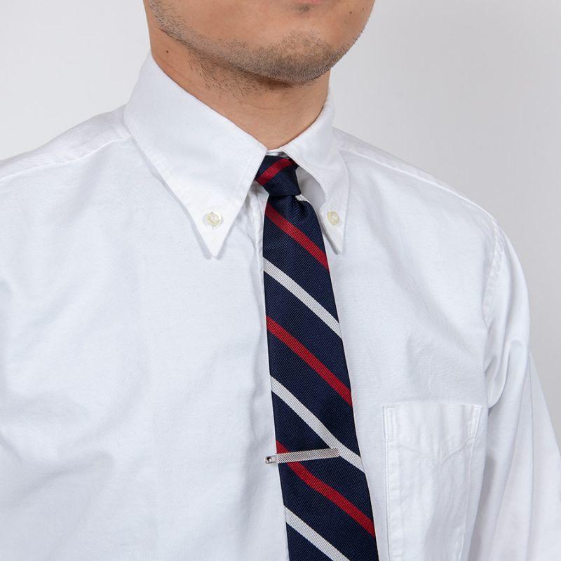 WORKERS ワーカーズ Silk Repp Tie, Navy-Red-Silver シルクレップタイ ネイビーレッドシルバー