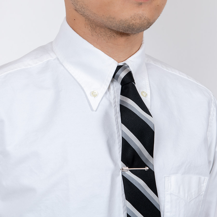 WORKERS ワーカーズ Silk Repp Tie, Black-Silver-Grey シルクレップタイ ブラックシルバーグレイ