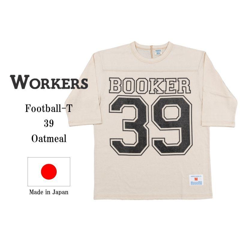 WORKERS ワーカーズ Football-T, 39, Oatmeal プリントフットボールTee オートミール
