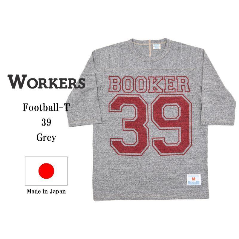WORKERS ワーカーズ Football-T, 39, Grey プリントフットボールTee グレイ