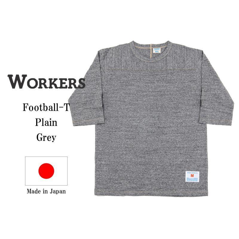 WORKERS ワーカーズ Football-T, Grey フットボールTee グレイ