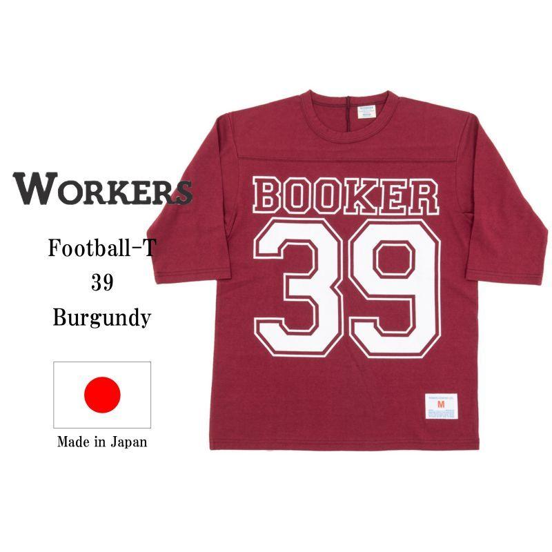 WORKERS ワーカーズ Football-T, 39, Burgundy プリントフットボールTee バーガンディー