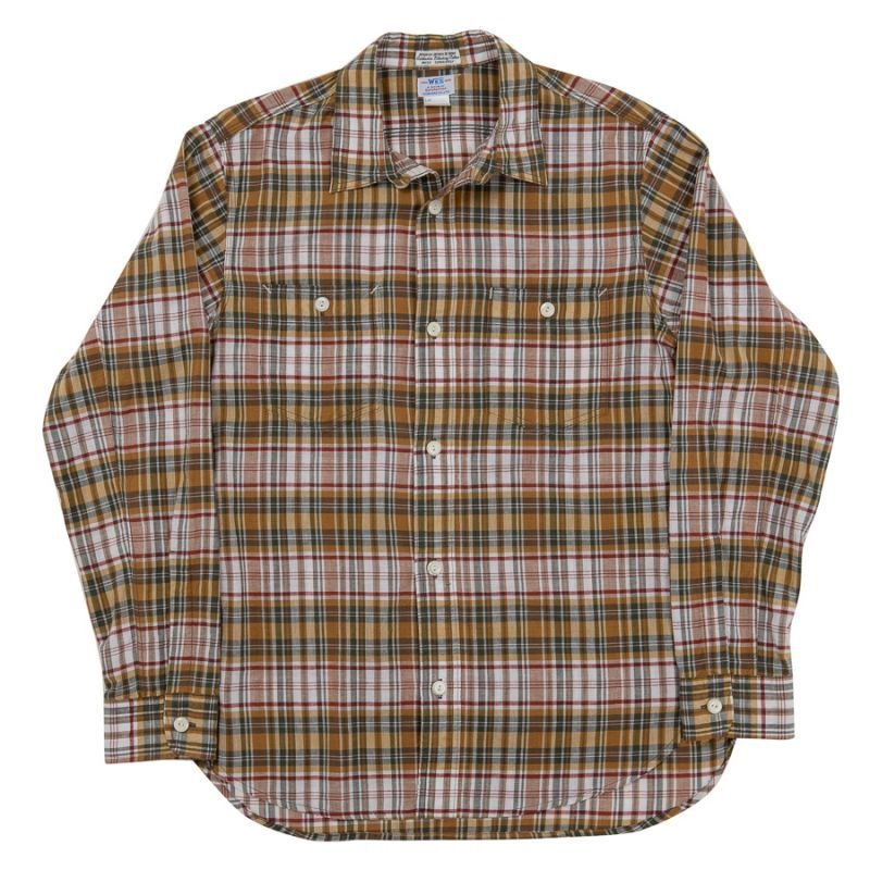 WORKERS ワーカーズ Lt Work Shirt, Yellow Madras ライトワークシャツ イエローマドラス