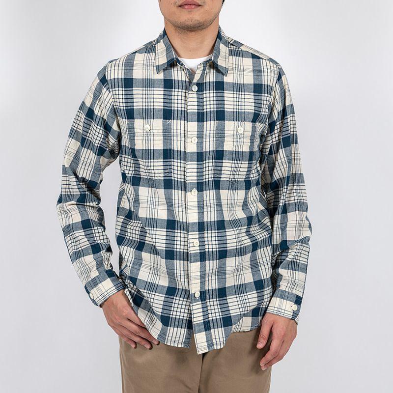 WORKERS ワーカーズ Lt Work Shirt, Blue Madras ライトワークシャツ ブルーマドラス