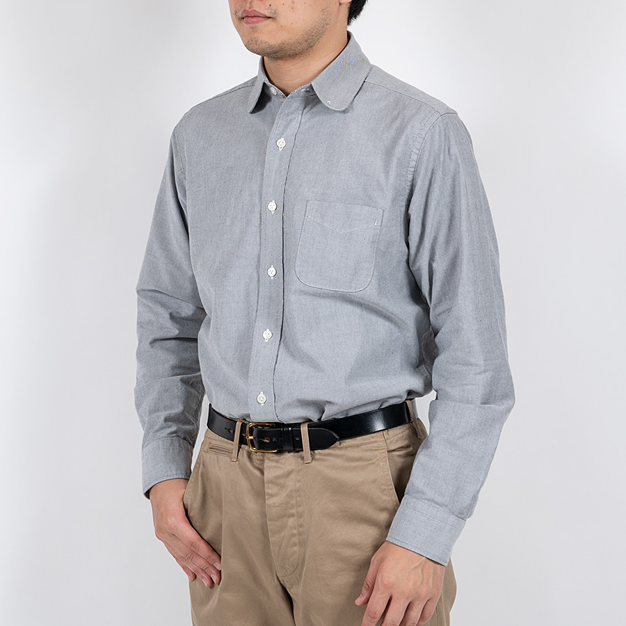 WORKERS ワーカーズ Pinhole Shirt, Black Grey Supima Oxford ピンホールシャツ ブラックグレイスーピマオックスフォード