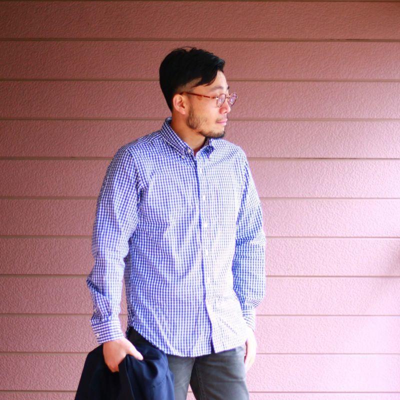 SONTAKU ソンタク Broad cloth BD Shirts ブロードクロスボタンダウンシャツ ネイビーギンガム