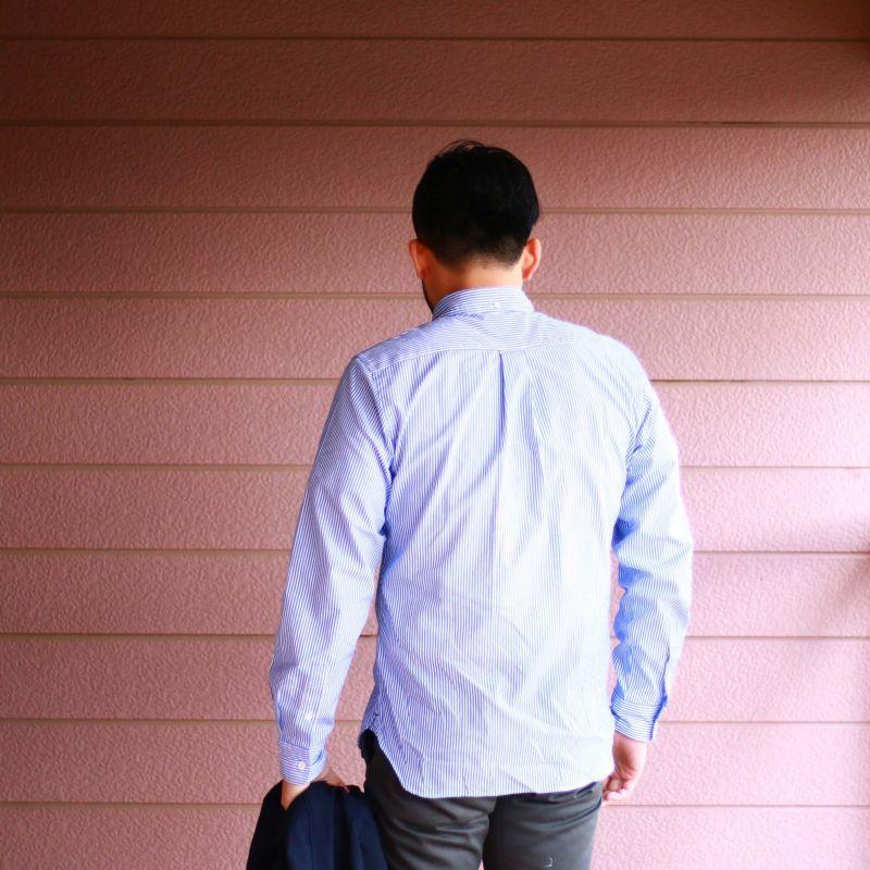 SONTAKU ソンタク Broad cloth BD Shirts ブロードクロスボタンダウンシャツ ブルーストライプ
