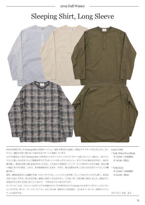 WORKERS ワーカーズ Sleeping Shirt, Long Sleeve スリーピングシャツ ロングスリーブ Twill,Ecru