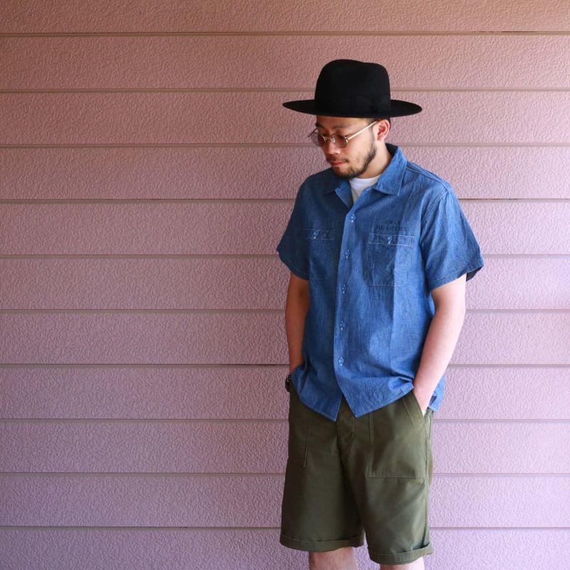 Buzz Rickson's バズリクソンズ BLUE CHAMBRAY S/S WORK SHIRT GRIM REAPERS シャンブレーワークシャツ ステンシル ブルー