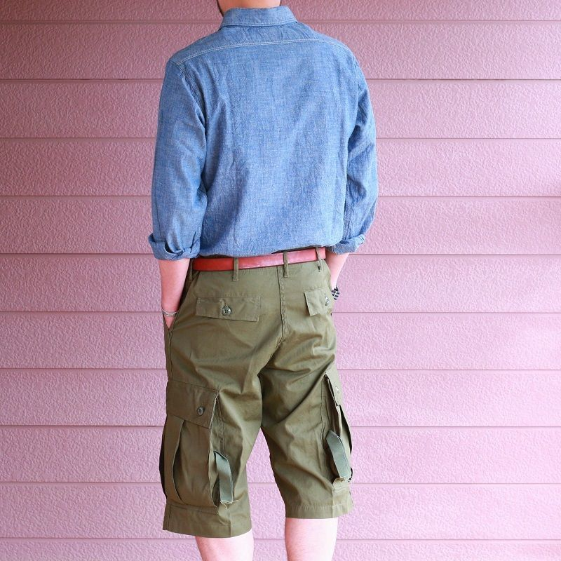 Buzz Rickson's バズリクソンズ TROUSERS,MEN'S, COTTON WIND RESISTANT POPLIN, OLIVE GREEN, ARMY SHADE 107 SHORTS カーゴショーツ