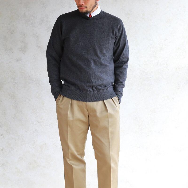 WORKERS ワーカーズ FC High Gauge Knit, Crew FCハイゲージニット クルー Charcoal