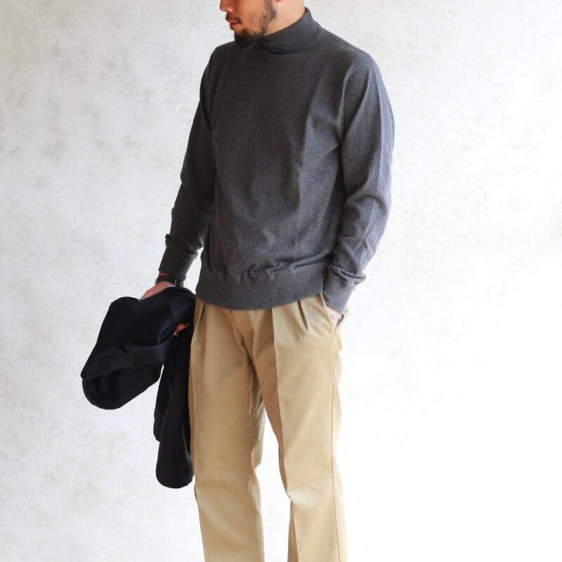 WORKERS ワーカーズ FC High Gauge Knit, Mock FCハイゲージニット モック Grey