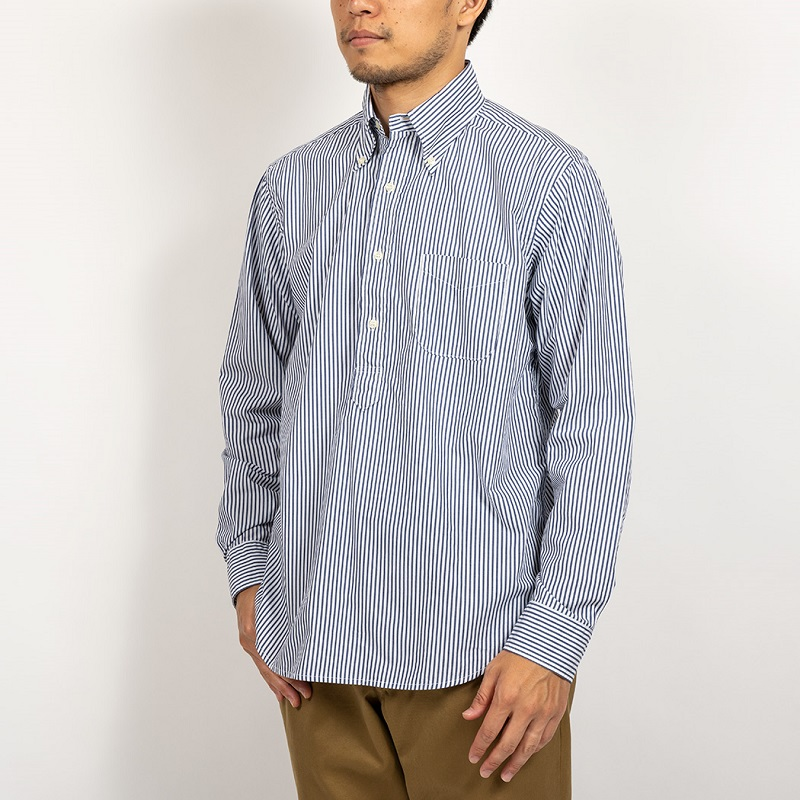 WORKERS ワーカーズ Pullover BD プルオーバーボタンダウンシャツ Blue Stripe Poplin