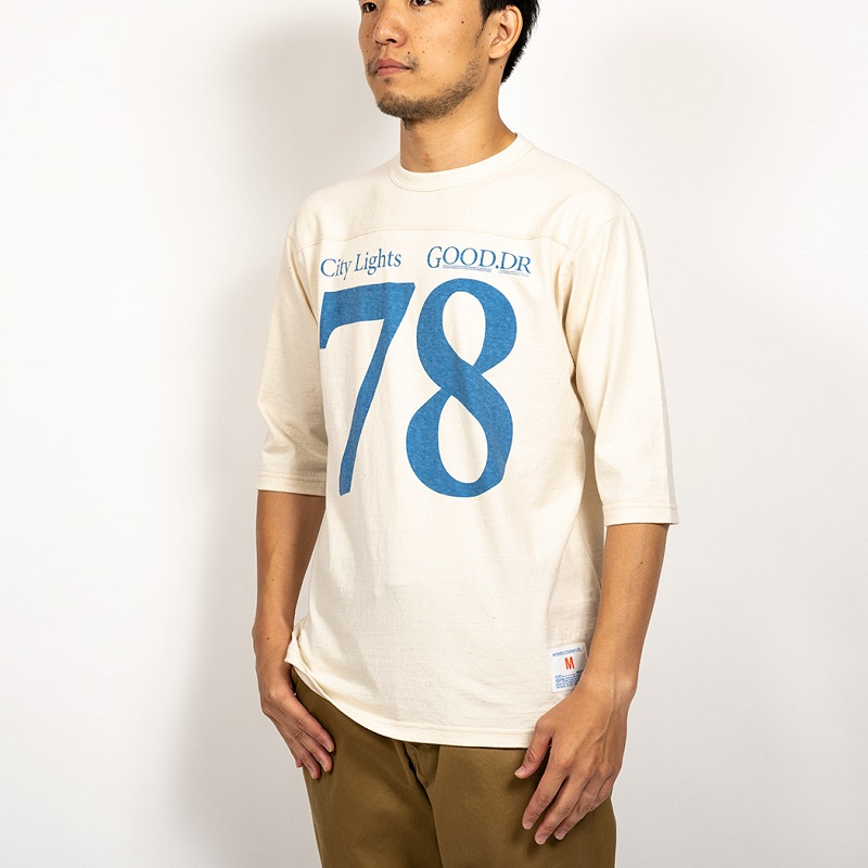 WORKERS ワーカーズ Football T, City Light Football TフットボールTシャツ Oatmeal