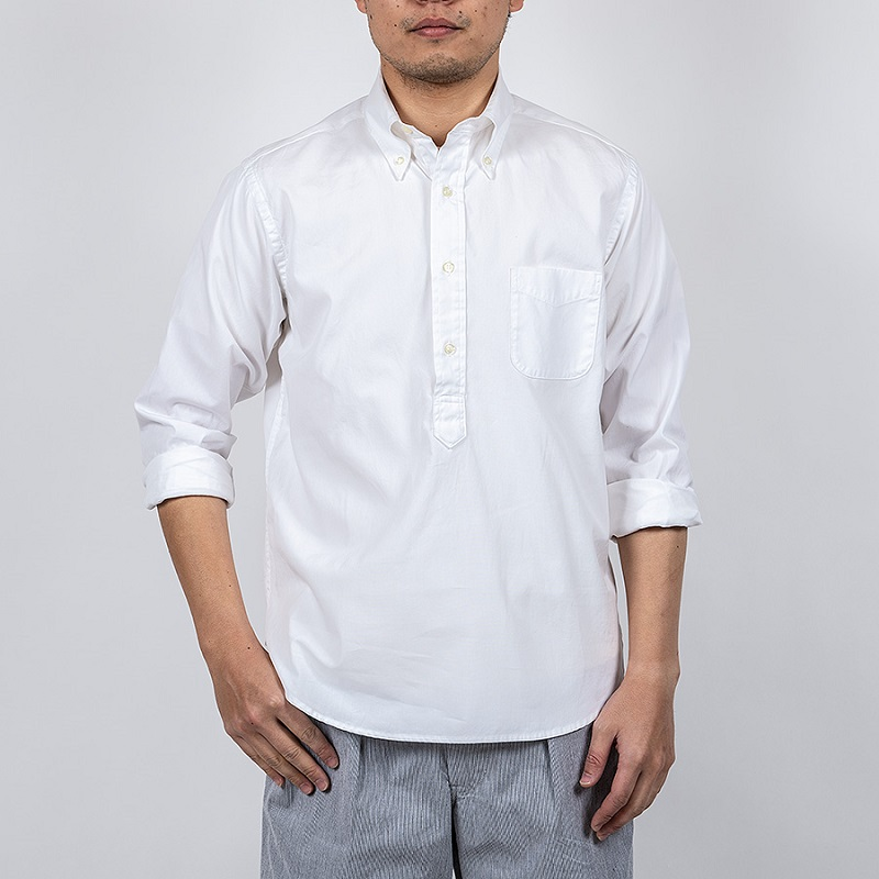 WORKERS ワーカーズ Pullover BD プルオーバーボタンダウンシャツ White Pinpoint OX