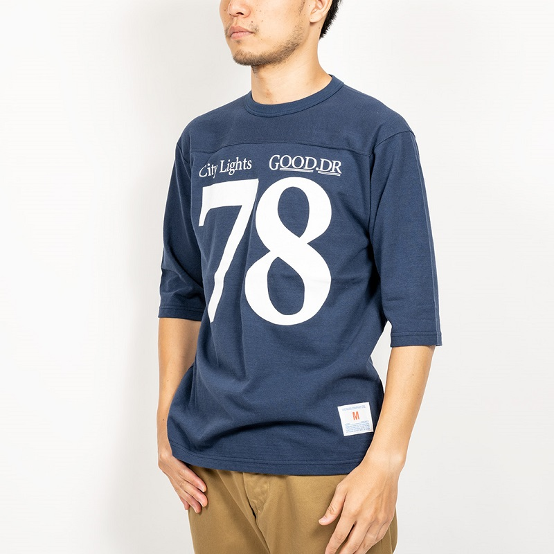 WORKERS ワーカーズ Football T, City Light Football TフットボールTシャツ Navy