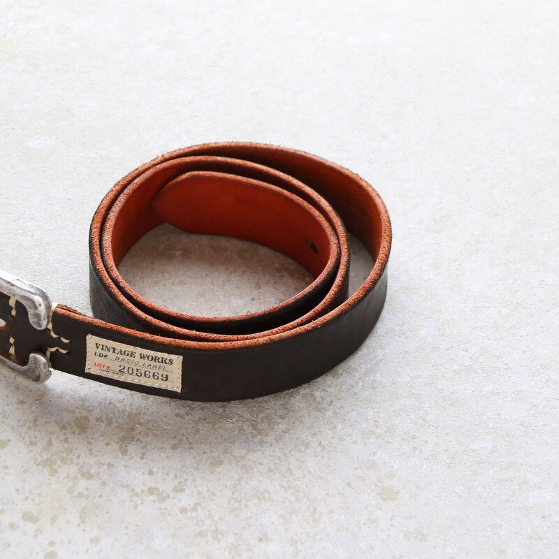 Vintage Works ヴィンテージワークス Leather belt 7Hole レザーベルト 7ホール 茶芯 DH5536