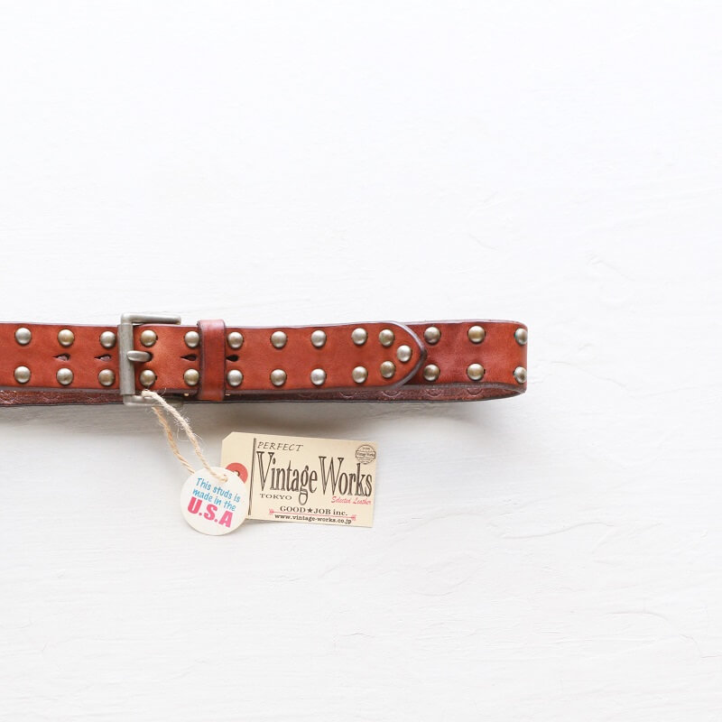 Vintage Works ヴィンテージワークス Leather belt 5Hole Made in USA studs レザースタッズベルト 5ホール DH5550