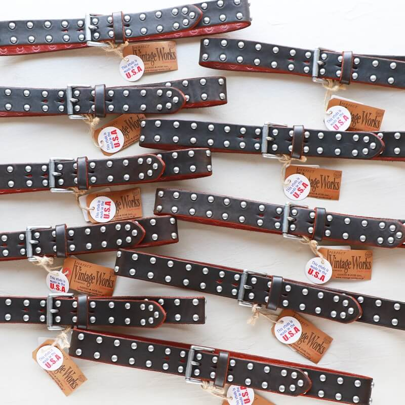 Vintage Works ヴィンテージワークス Leather belt 5Hole Made in USA studs レザースタッズベルト 5ホール 茶芯 DH5550