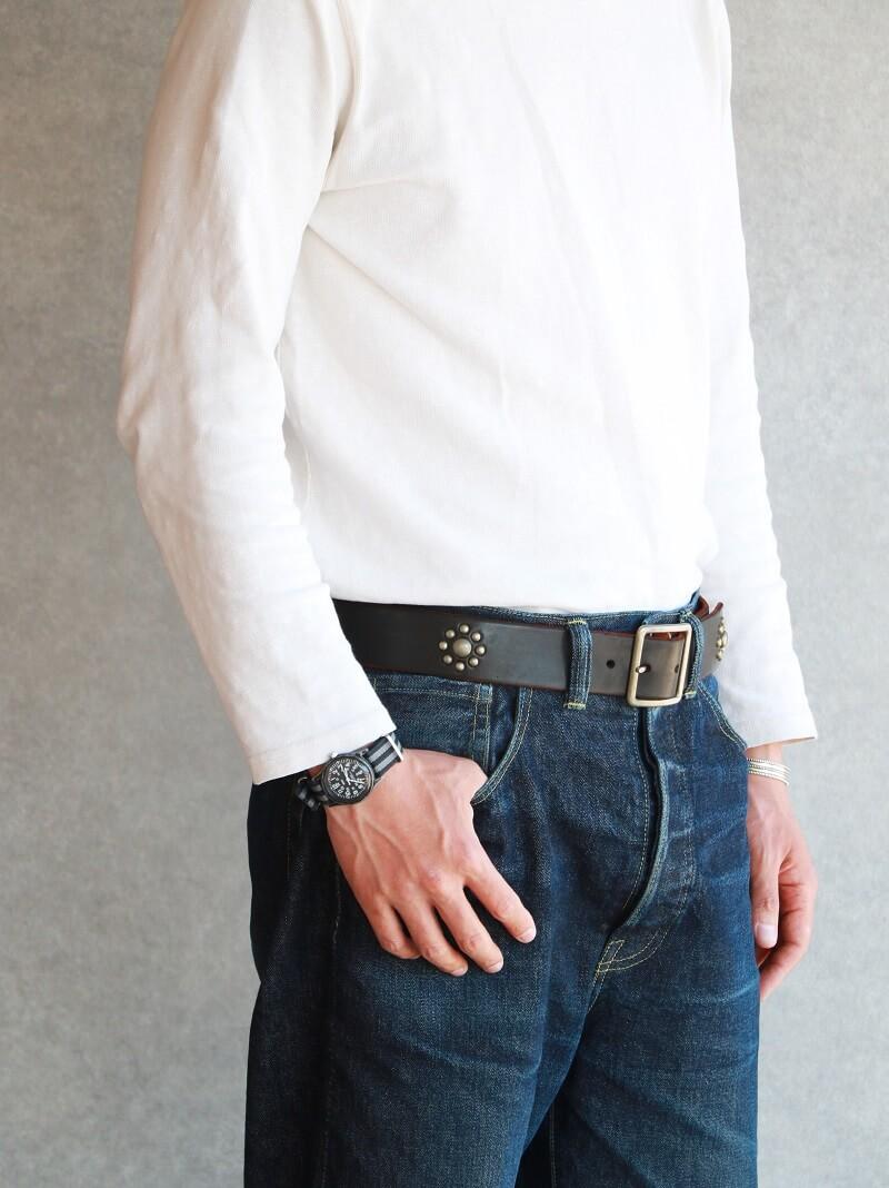 Vintage Works ヴィンテージワークス Leather belt 5Hole Custum Made in USA studs レザースタッズベルト 5ホール 茶芯 DH5697 Custum